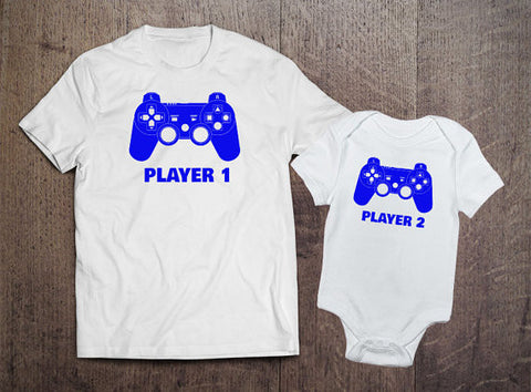 Player 1 Player 2 Matching Sets - Blue Text