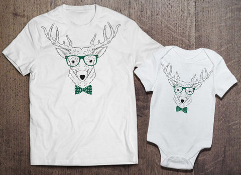 Hipster Reindeer Matching Set - Clever Fox Apparel