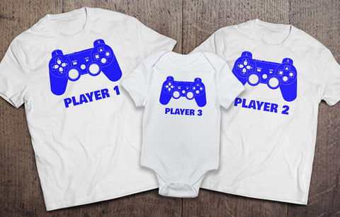 Player 1 Player 2 Player 3 Matching Onesie and T-Shirt Sets - White - Clever Fox Apparel