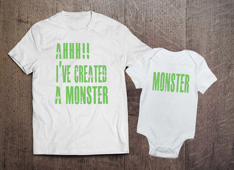 AHHH!! I've Created A Monster / Monster Matching Set - Clever Fox Apparel