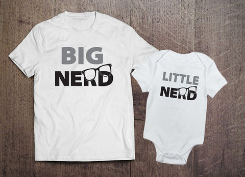 Big Nerd Little Nerd Set (White) - Clever Fox Apparel