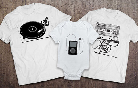Record Player, Cassette, iPod Set - White