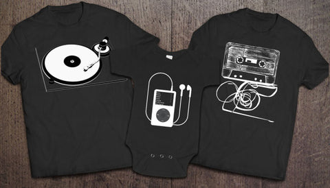 Record Player, Cassette, iPod Set - Black - Clever Fox Apparel
