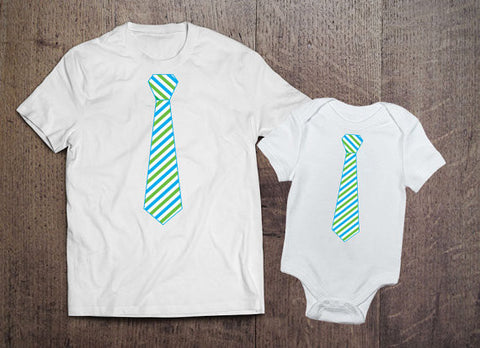 Matching Green Stripe Tie Set - Clever Fox Apparel