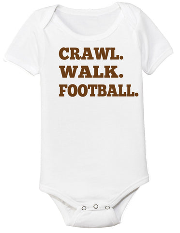 Crawl Walk Football Baby Bodysuit - Clever Fox Apparel