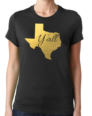 Texas Y'all Metallic Gold Design