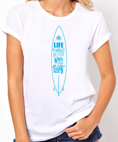Life is Better When You Surf T-Shirt-Women's - Clever Fox Apparel