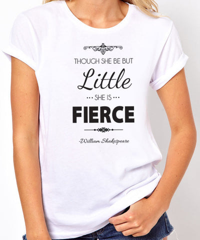 Though She Be But Little She is Fierce Women's T Shirt - Clever Fox Apparel