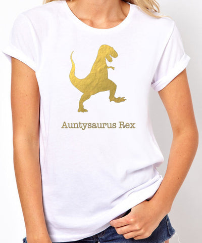 Auntysaurus Rex T Shirt - Gold Print - Clever Fox Apparel