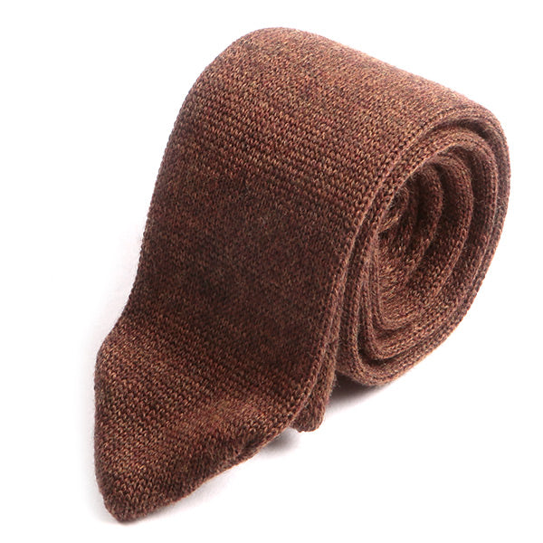 Brown Pointed Wool Knitted Tie 5.5cm