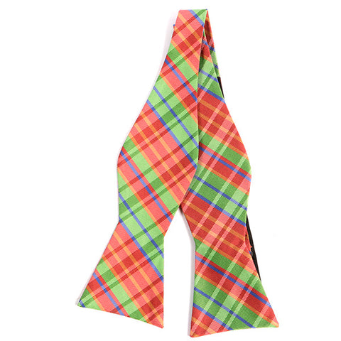 Green And Red Check Silk Self Tie Bow Tie - Handmade Silk Wool And Knitted Ties by Tie Doctor