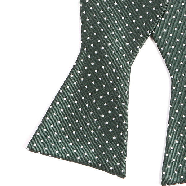 Green Polka Dot Silk Self Tie Bow Tie - Handmade Silk Wool And Knitted Ties by Tie Doctor