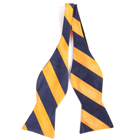 Navy And Yellow Striped Silk Self Tie Bow Tie - Handmade Silk Wool And Knitted Ties by Tie Doctor