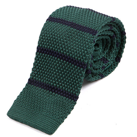 Green Striped Knit Tie - Handmade Silk Wool And Knitted Ties by Tie Doctor