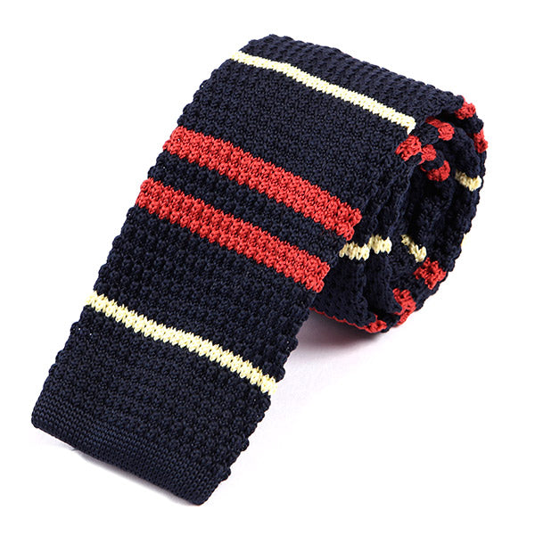 Black Striped Knit Tie - Handmade Silk Wool And Knitted Ties by Tie Doctor