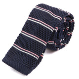 Navy and Pink Stripe Knit Tie - Handmade Silk Wool And Knitted Ties by Tie Doctor