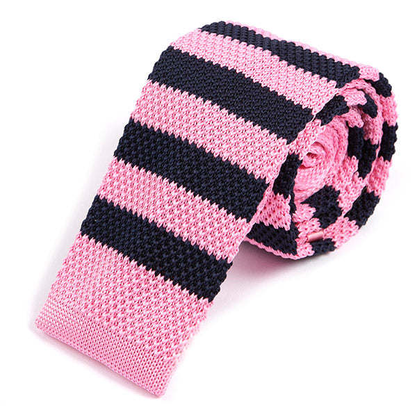 Navy and Pink Knit Tie - Handmade Silk Wool And Knitted Ties by Tie Doctor