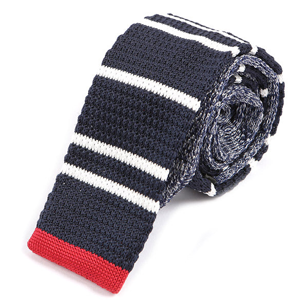 Navy Red Contrast Tip Knit Tie