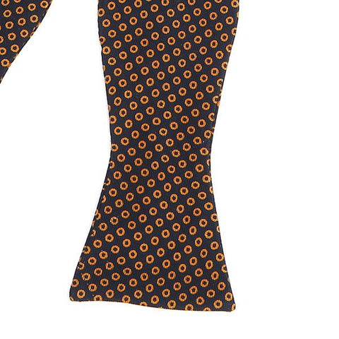 BLACK & BROWN CIRCLE SILK SELF TIE BOW TIE