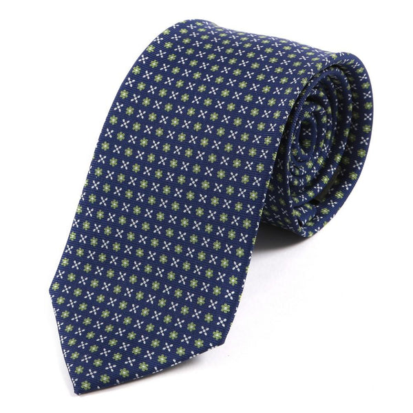 Blue and Yellow Micro Floral Silk Tie