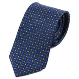 BLUE & YELLOW LEAF SILK TIE