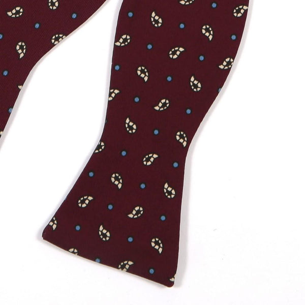 Rich Burgundy Paisley Self Tie Bow Tie
