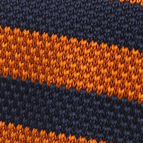 Brown orange & navy knitted tie - Handmade Silk Wool And Knitted Ties by Tie Doctor