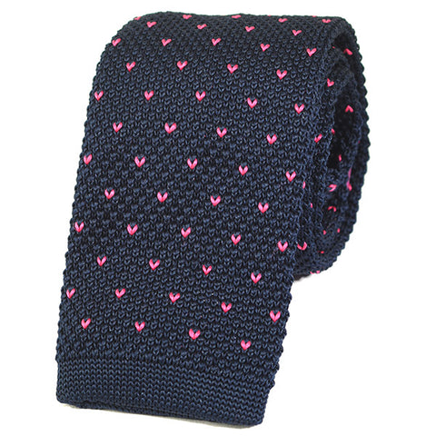 Navy and Pink Starred Knitted Tie - Handmade Silk Wool And Knitted Ties by Tie Doctor