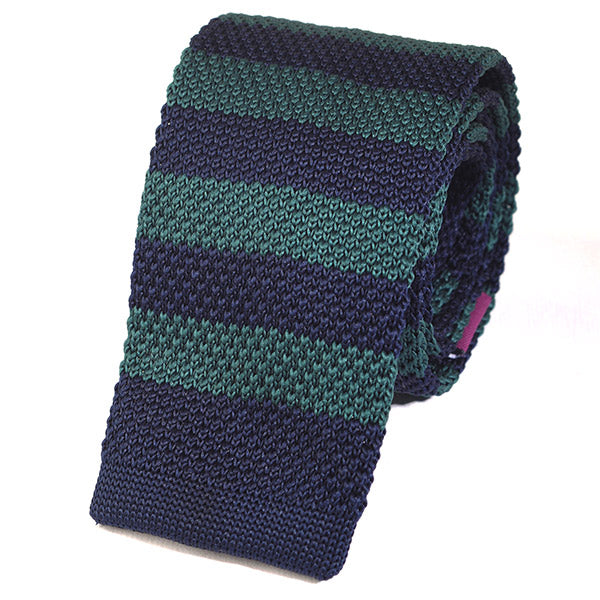 Green & Navy Knitted Tie - Handmade Silk Wool And Knitted Ties by Tie Doctor