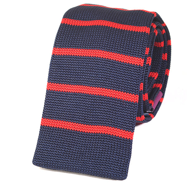 Navy And Red Striped Knitted Tie - Handmade Silk Wool And Knitted Ties by Tie Doctor