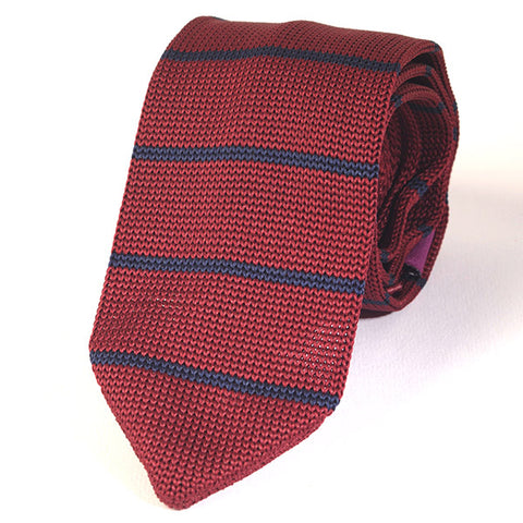 RED LINED POINTED KNITTED TIE - Handmade Limited Edition Ties by Tie Doctor