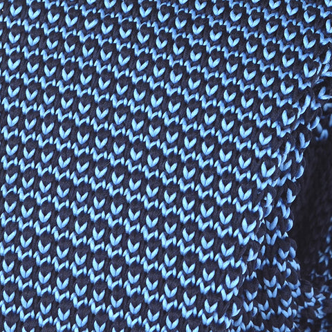 BLUE RAISED KNITTED TIE - Handmade Silk Wool And Knitted Ties by Tie Doctor