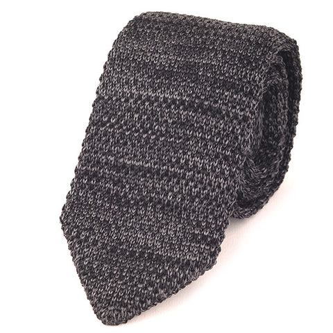 GREY MARL POINTED KNITTED TIE - Handmade Silk Wool And Knitted Ties by Tie Doctor