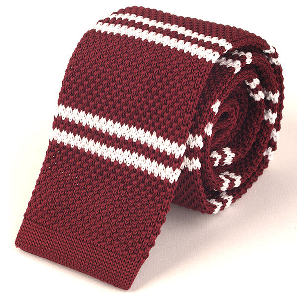 Red Duo Knitted Tie - Handmade Limited Edition Ties by Tie Doctor