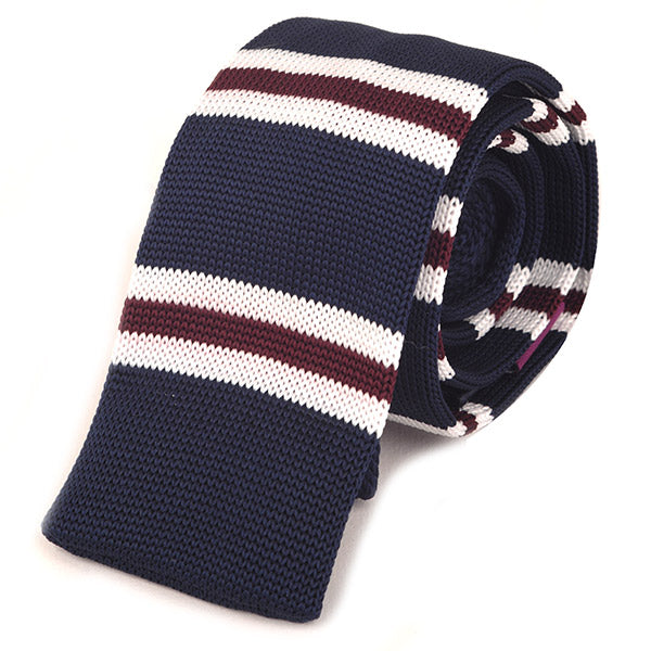 Best Seller Navy & Red Slim Knit Tie - Handmade Silk Wool And Knitted Ties by Tie Doctor