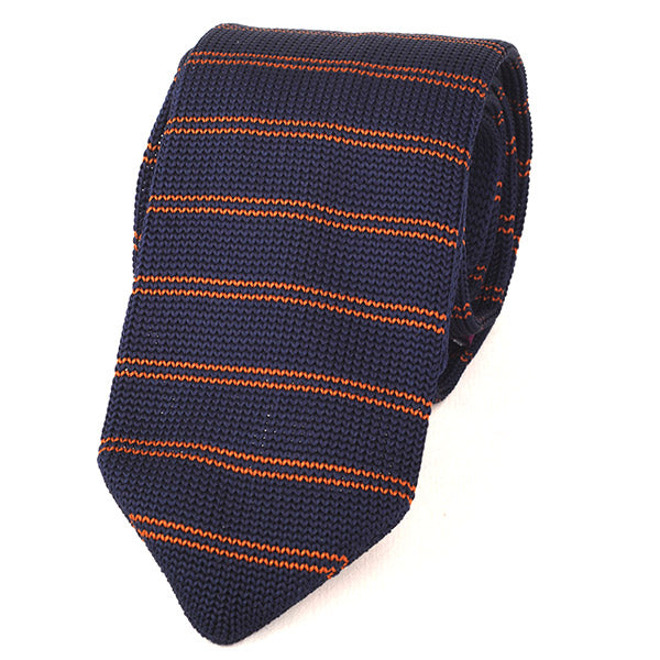 Navy and Brown Pointed Knitted Tie - Handmade Silk Wool And Knitted Ties by Tie Doctor