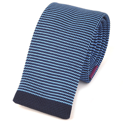Slim Blue Striped Knitted Tie
