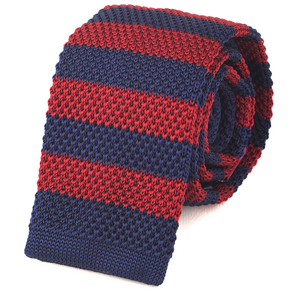 Burgundy & Navy Block Knitted Tie - Handmade Silk Wool And Knitted Ties by Tie Doctor