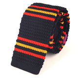 Navy Orange Trio Knitted Tie - Handmade Silk Wool And Knitted Ties by Tie Doctor