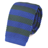 Blue Striped Knit Tie - Handmade Silk Wool And Knitted Ties by Tie Doctor