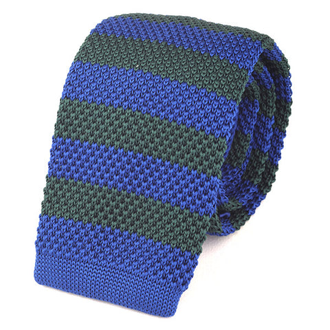 Blue Striped Knit Tie - Handmade Limited Edition Ties by Tie Doctor