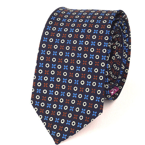 NAVY BLUE X & O SLIM SILK TIE - Handmade Silk Wool And Knitted Ties by Tie Doctor
