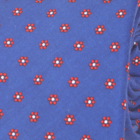 Blue Mini Circle Slim Cotton Tie - Handmade Silk Wool And Knitted Ties by Tie Doctor