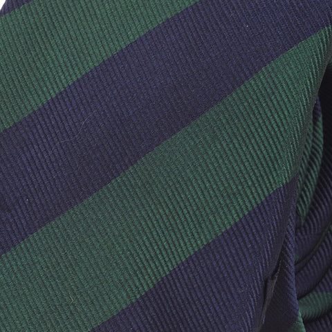 Navy & Green Stripe Silk Tie - Handmade Silk Wool And Knitted Ties by Tie Doctor