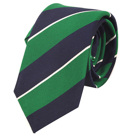 Light Green & Navy Slim Silk Tie - Handmade Silk Wool And Knitted Ties by Tie Doctor