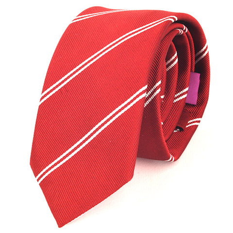 Red Duo Stripe Slim Silk Tie - Handmade Limited Edition Ties by Tie Doctor