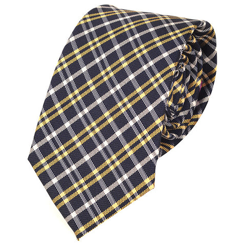 Navy Check Slim Silk Tie - Handmade Silk Wool And Knitted Ties by Tie Doctor