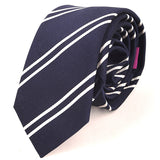 Navy Duo Stripe Silk Slim Ties - Handmade Silk Wool And Knitted Ties by Tie Doctor