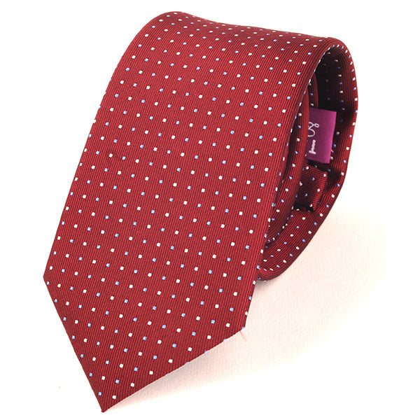 Red Blue & White Mini Dots Slim Silk Tie - Handmade Limited Edition Ties by Tie Doctor