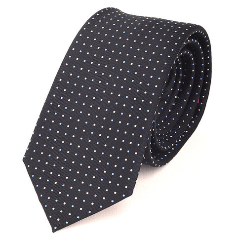 Navy Blue & White Mini Dots Slim Silk Tie - Handmade Silk Wool And Knitted Ties by Tie Doctor